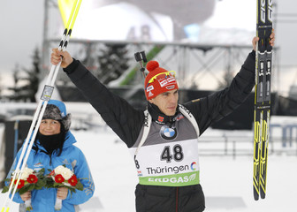 Germany's Peiffer reacts after winning in 10 km men's sprint competition at Biathlon World Cup in Oberhof