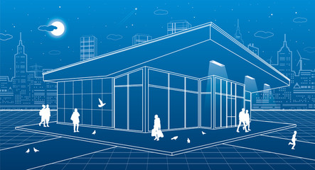 The building of the store, people are walking, the night city scene on background, vector design art