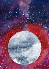 Watercolor galaxy background. Space, moon and stars