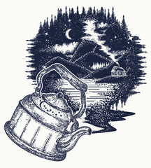 Outdoors tattoo art and t-shirt design.  Symbol of travel, tourism, meditation, adventures, dream, great outdoors. Night mountain landscape t-shirt design