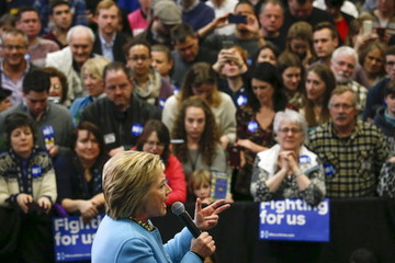 Democratic U.S. presidential candidate Hillary Clinton addresses the crowd during a campaign stop at Manchester Community College in Manchester, New Hampshire