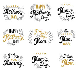 Mothers Day Hand Lettering Calligraphic Inscriptions Set with Hand-drawn Elements. Gold and Black Emblems and Badges Collection Isolated on White. Font Vector Illustration.
