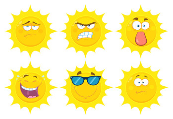 Funny Yellow Sun Cartoon Emoji Face Series Character Set 2. Flat Design Collection Isolated On White