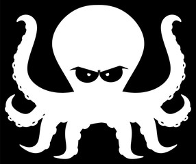 Angry Silhouettes Of Octopus Cartoon Mascot Character. Illustration With Black Background