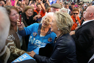U.S. Democratic presidential nominee Hillary Clinton greets the crowd after a rally at the Colorado State Fair Grounds in Pueblo