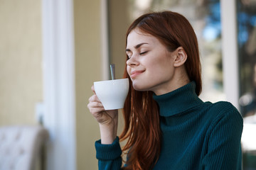 woman with morning cup of coffee, fragrance, breakfast