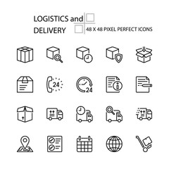 LOGISTICS and DELIVERY vector line 48x48 Pixel Perfect Icons