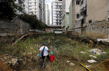 A health agent walks before using guppy fish to consume larva of Zika-transmitting mosquito in a wasteland near a construction site of new residential buildings at Tijuca neighborhood in Rio de Janeiro