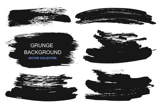 Large grunge elements set. Brush strokes, banners, borders, splashes splatters. Vector illustration.