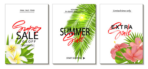 Set of summer sale template banner. Tropical backgrounds set with realistic vector tropical leaves and beautiful flowers. Wallpaper,flyers, invitation, posters, brochure, voucher discount.
