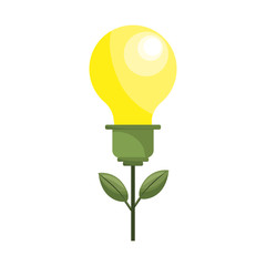 bulb plant with leaves to save environment