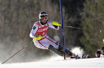Austria's Herbst competes during the men's Alpine Skiing World Cup Slalom race in Kranjska Gora