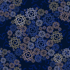 seamless dark pattern with round elements. background for wallpaper, printing on the packaging paper, textiles, tile.