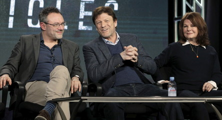 """Ross, Bean and Scoffield take part in a panel discussion of A&E's network show """"The Frankenstein Chronicles"""" during the Television Critics Association Winter press tour in Pasadena"""
