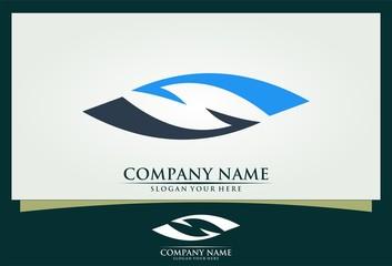 S abstract eye media vision logo