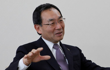 Panasonic Corp's President and Chief Executive Kazuhiro Tsuga speaks at an interview with Reuters in Osaka