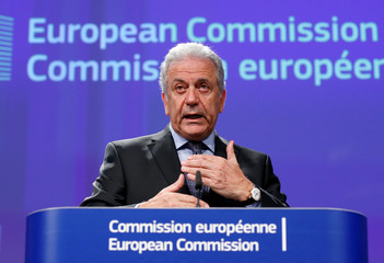 EU Commissioner Avramopoulos addresses a news conference in Brussels