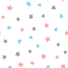 Seamless pattern with pink, blue, dark gray stars isolated on white background. Drawn by hand.