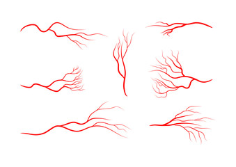 Set of abstract veins, blood vessels, arteries, capillaries. Seven red icons isolated on white background.