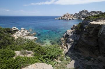 Amazing seascape of a turquoise sea in Italy. Beautiful wild beach of the Emerald coast in Sardinia..