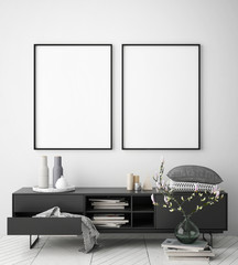 mock up poster frame in hipster interior background, scandinavian style, 3D render, 3D illustration