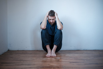 Desperate man in trouble feeling depressed