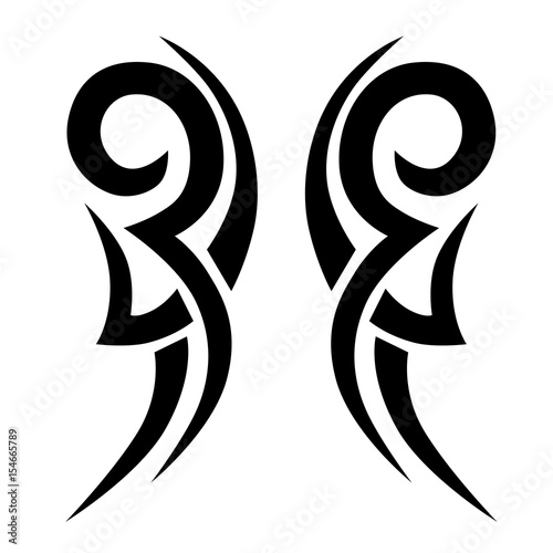 6503afc88 Sketched simple isolated vector. Tattoo idea art design for girl, woman and  man. Abstract tribal tattoo pattern.