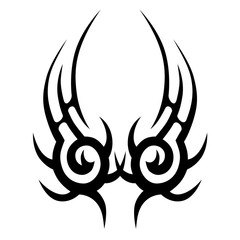 TRIBAL TATTOO ART DESIGNS. Sketched simple isolated vector. Tattoo idea art design for girl, woman and man. Abstract tribal tattoo pattern.