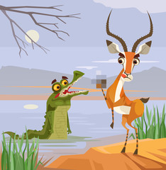 Predator crocodile  and victim antelope characters. Vector flat cartoon illustration
