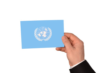 The UN flag in hands