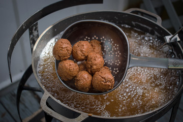 Deep Fried Hushpuppies over hot oil