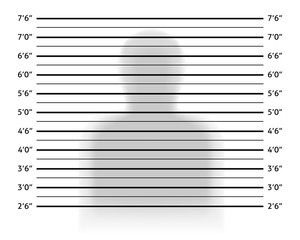 Police lineup or mugshot background with anonymous shadow.