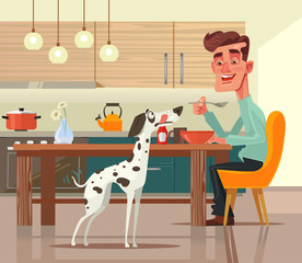 Funny happy dog character asks for food. Vector flat cartoon illustration