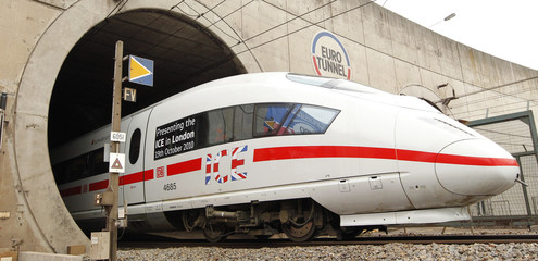 Deutsche Bahn ICE 3 high speed train get in the Channel Tunnel during the preliminary tests in Coquelles,