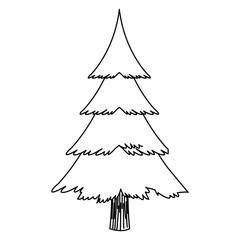 cartoon christmas tree decoration celebration outline vector illustration