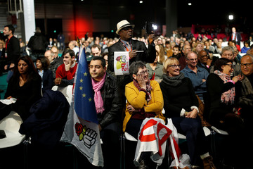 People attend the convention of the Belle Alliance Populaire (Nice Popular Union) ahead of the 2017 French presidential election in Paris
