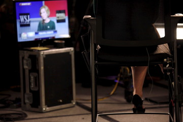 Republican Presidential candidate Carly Fiorina takes questions from the media in the spin room after the debate held by Fox Business Network for the top 2016 U.S. Republican candidates