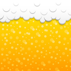Beer texture with foam and bubbles. Vector.