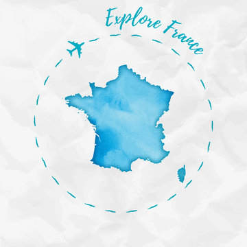 France watercolor map in turquoise colors. Explore France poster with airplane trace and handpainted watercolor France map on crumpled paper. Vector illustration.