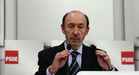 Spain's Deputy PM Rubalcaba attends a news conference in Madrid