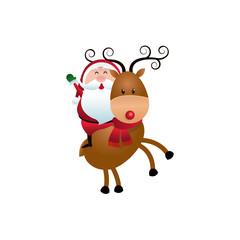 christmas santa claus riding reindeer cartoon vector illustration