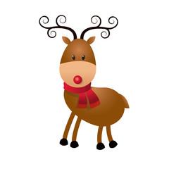 christmas cute reindeer scarf standing animal cartoon vector illustration