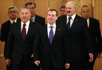 Sargsyan, Nazarbayev, Rahmon, Medvedev, Atambayev, Lukashenko and Karimov arrive for the Collective Security Treaty Organization (CSTO) summit in Moscow's Kremlin