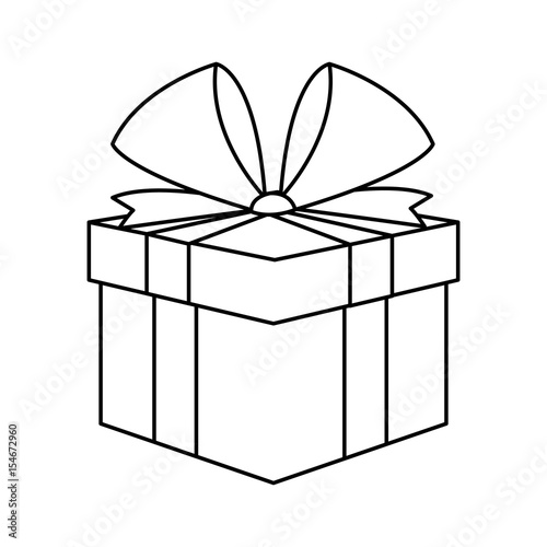 Christmas Present Box Gift Ribbon Decoration Outline Vector Illustration