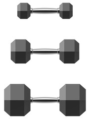 Hexagonal dumbbell set isolated on white background