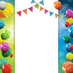 Group of Colour Glossy Helium Balloons Background. Set of  Balloons and Flags for Birthday, Anniversary, Celebration  Party Decorations. Vector Illustration