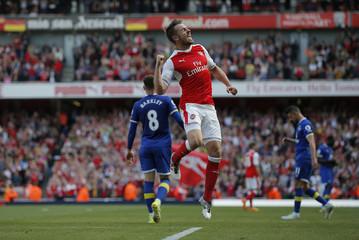 Arsenal's Aaron Ramsey celebrates scoring their third goal