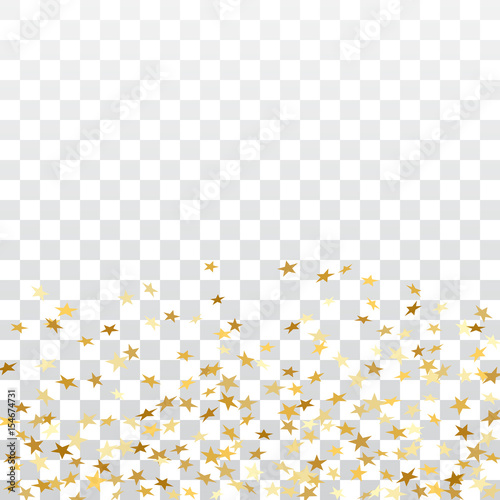 Quot Gold Stars Falling Confetti Isolated On White Transparent