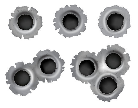 Realistic bullet impacts in vector format on isolated background