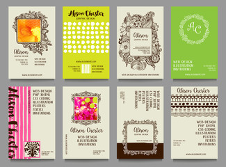 Set of hand drawn business cards, with doodles, textures, dot patterns, stripes and frames